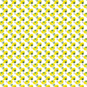 Yellow And Plants Pattern On White