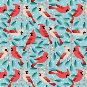 cardinals and mistletoe - small