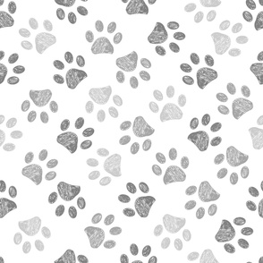 Seamless pattern for textile design. Seamless grey colored paw print background