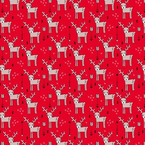 Adorable woodland reindeer and arrows christmas illustration kids pattern design in soft winter Christmas red  SMALL