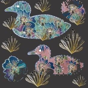 Art Nouveau Paper Cut Floral Collage Ducks On Charcoal