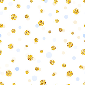 Glitter and baby blue gold circle and polka dots. Seamless fabric design pattern. Wrapping paper_ baby shower_ wallpaper vector