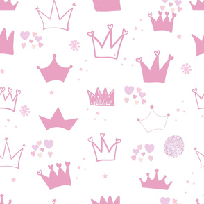 Pink hand drawn doodle crown with stars and hearts. It's a girl. Baby shower greeting card background. Seamless pattern for textile fabric design vector