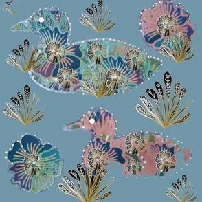 Art Nouveau Paper Cut Ducks On Blue