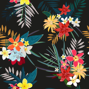 Frangipani lily palm leaves tropical vibrant colored trendy summer pattern black background