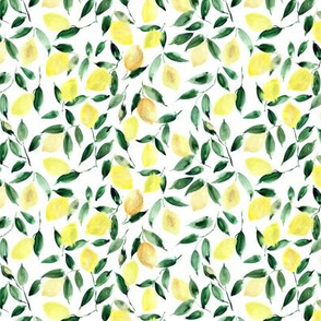 Small scale lemon mint - watercolor citrus pattern - summer lemons design p325