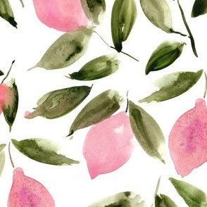 Large scale pink lemon mint - watercolor citrus pattern - summer lemons design