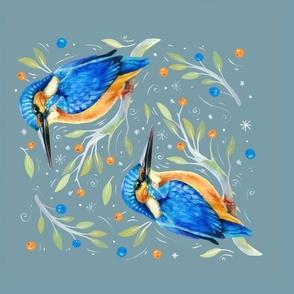 Winter kingfisher tea towel