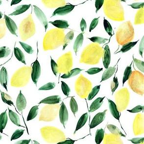 lemon mint - watercolor citrus pattern - summer lemons design