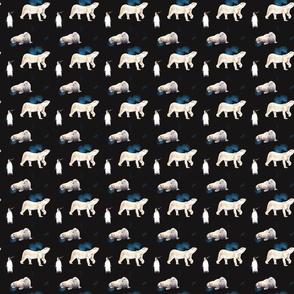 Bear Walrus Penguin Pattern On Dark