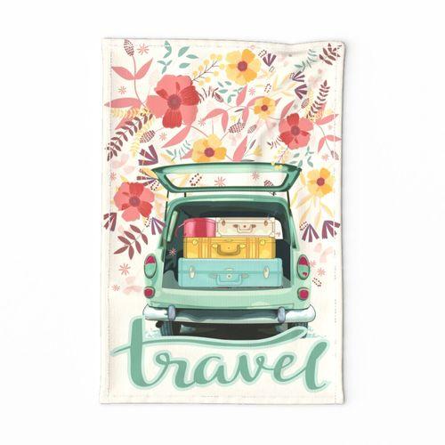 Vintage Travel Tea Towel Garabateo