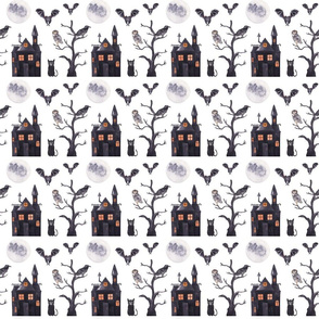 Halloween Birds Pattern White