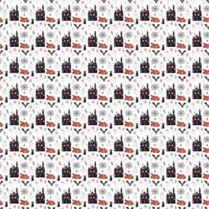 Halloween House Pattern White
