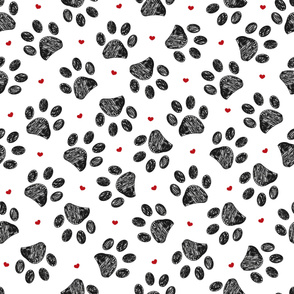 Seamless pattern for textile design. Seamless black paw print with red hearts pattern background
