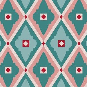 quatrefoils teal and red