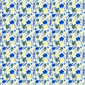 Watercolor Mix Flowers Blue