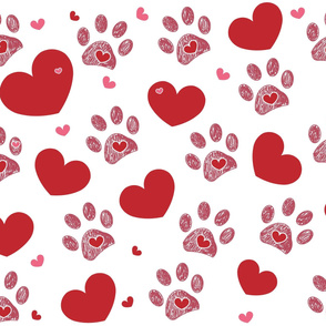Dog paw print with hearts Happy Valentine's day greeting card and background