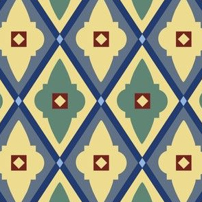 quatrefoils yellow and green