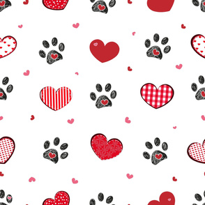 Black doodle paw print with retro beautiful hearts. Happy Valentine's day_ Mother's Day seamless fabric design pattern background vector