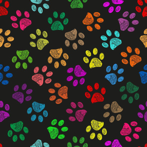 Colorful vibrant colored doodle paw prints. Seamless pattern for textile design. Paw prints background