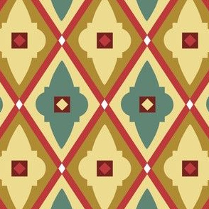 quatrefoils red and ochre