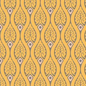 Yellow Gray Vintage Ogee