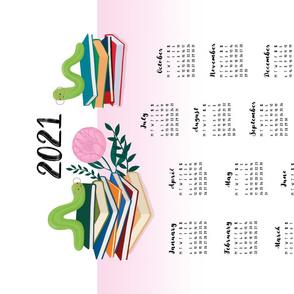 Tea Towel Calendar 2021 - Bookworms on white