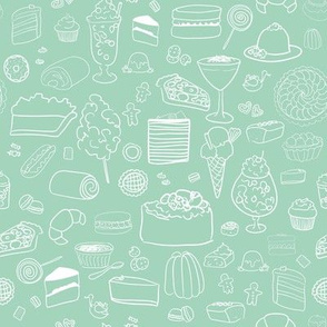 Sweet Tooth pattern in Mint // Desserts, Cake and Candy // Kids Pattern