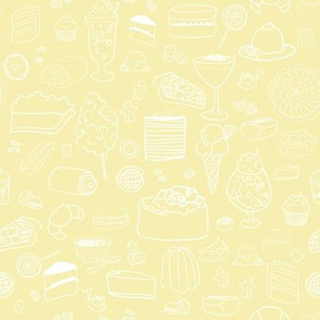 Sweet Tooth in Custard // Desserts Cakes and Candy // Kids Pattern
