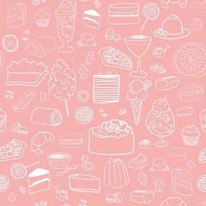 Sweet Tooth in Candy Pink // Dessert Cake and Candy // Kids Pattern