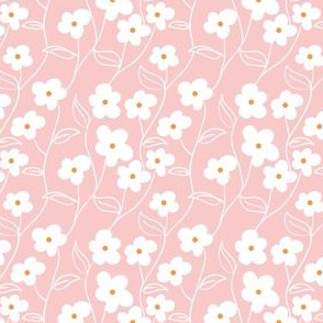 Wallflower Climbing Floral in Pink// Modern floral repeating pattern // 60s mod daisy style by Zoe Charlotte