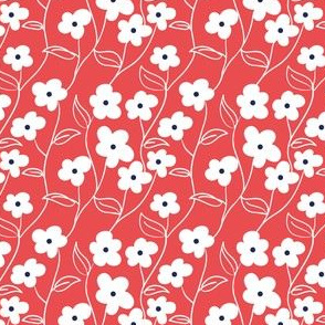 Wallflower Climbing Floral in Red // Modern floral repeating pattern // 60s mod daisy style by Zoe Charlotte