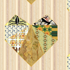 """Ivory, Cream, Coral & Yellow Scrapbook Quilted Heart Tile 16"""" Square"""
