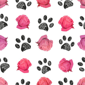 Doodle black paw prints and hand drawn beautiful pink roses pattern
