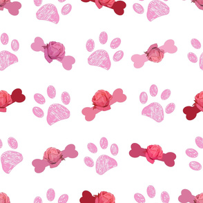 Doodle pink paw prints and bone hand drawn beautiful pink roses pattern