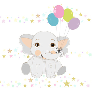 Cute baby elephant with colorful balloon. Seamless for fabric design repeated pattern