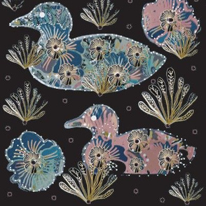 Art Nouveau Floral Papercut Collage Ducks On Darkest Burgundy