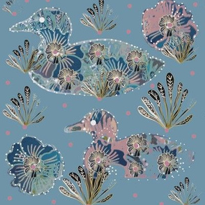 Art Nouveau Papercut Floral Collage Ducks -  Blue