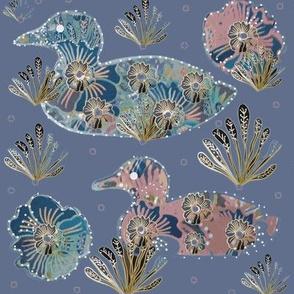 Art Nouveau Papercut Floral Collage Ducks - Lilac Blue