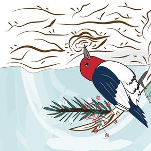 Icy Red-Headed Woodpecker - Tea Towel