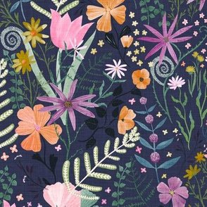 Spring Blooms in the Garden on dark blue