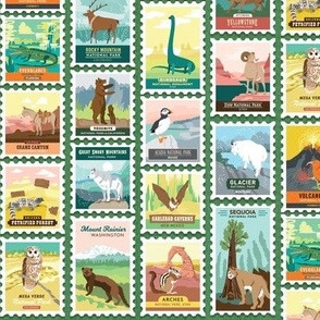 National Parks Stamps in Green