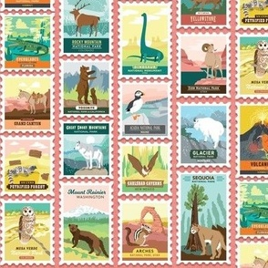 National Parks Stamps in Red