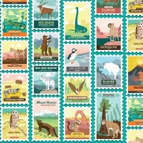 National Parks Stamps in Teal