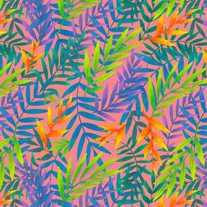 Tropic leaves on pink