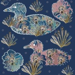 Art Nouveau Paper Cut Collage Ducks On Navy Blue
