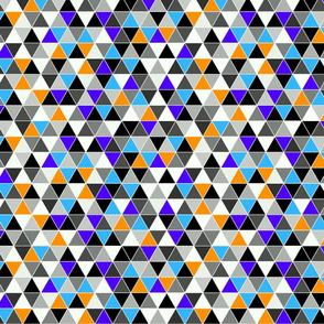 Tesselating Triangles bold grey orange blue