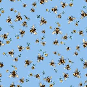 Happy Bee Dance on Cornflower Blue