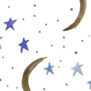 Earthy moons and sapphire stars -  sweet dreams - watercolor magic night sky with stars and moons for nursery