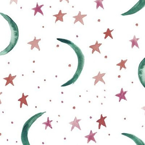 Emerald moons and berry stars - sweet dreams - watercolor magic night sky with stars and moons for nursery